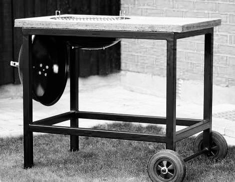 Grillvagn i stål och betong